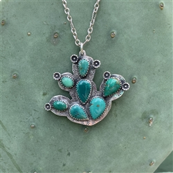Prickly Pear Cactus Pendant with Sterling Blossoms -- 7 stones