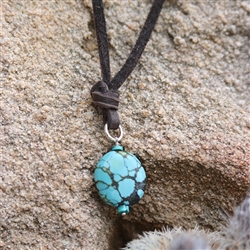 Turquoise Drop on Leather Strap