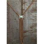 Turquoise Rectangle Necklace with Leather Tassels