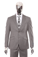 Berragamo - REDA | Modern 2-Piece Notch Solid Medium Grey Suit