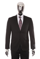 Berragamo - REDA | Slim 2-Piece Notch Solid Black Suit