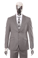 Berragamo - REDA | Slim 2-Piece Notch Solid Medium Grey Suit