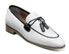 Stacy Adams | BIANCHI - Leather Sole Moc Toe Tassel Slip On - Black/White | Wide
