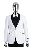 Berragamo Fancy White Shawl Tuxedo Slim Fit