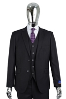 Berragamo Vested Solid Black Modern Fit