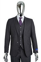 Berragamo Vested Solid Charcoal  Modern Fit
