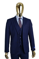 Berragamo Vested Solid New Blue Modern Fit