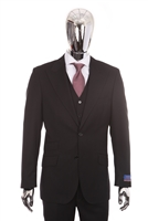 Berragamo Vested Peak Solid Black Modern Fit