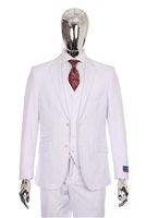 Berragamo Vested Solid White Modern Fit