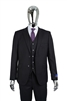 Berragamo Solid  Black Vested Slim Fit Suit