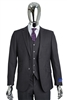 Berragamo Solid Charcoal Vested Slim Fit Suit