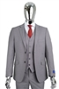 Berragamo Solid Light Grey Vested Slim Fit Suit