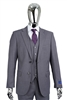 Berragamo Solid Medium Grey Vested Slim Fit Suit
