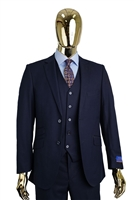 Berragamo Solid Navy Vested Slim Fit Suit
