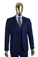 Berragamo Solid New Blue Vested Slim Fit Suit
