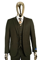 Berragamo Solid Olive Slim Fit Suit