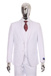 Berragamo Solid White Vested Slim Fit Suit