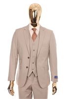 Berragamo Solid Tan Vested Slim Fit Suit