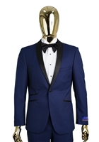 Berragamo Solid New Blue Shawl Tuxedo Modern Fit