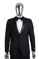 Berragamo Solid Black Notch Tuxedo Slim Fit