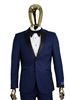 Berragamo Solid New Blue Notch Tuxedo Slim Fit
