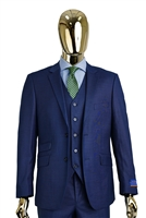 Berragamo Sharkskin Vested Modern Fit New Blue Suit