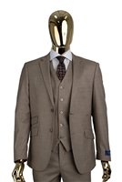 Berragamo Sharkskin Vested Modern Fit Tan Suit