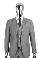 Berragamo Sharkskin Vested Modern Fit Grey Suit