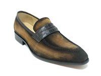 Carrucci Suede Penny Loafer w/ Leather Trim
