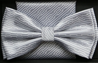 Steven Land Big Knot Fancy White & Silver Bowties