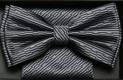 Steven Land Big Knot Fancy Black & Silver Bowties
