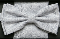 Steven Land Fancy Big Knot White Bowties