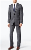 Ralph Lauren 100% Natural Wool Solid Grey Windowpane Suit Modern Fit