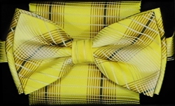 STEVEN LAND | HD BOW TIE | PRE- TIED | PLAID BOW TIES | YELLOW