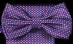 STEVEN LAND | HD BOW TIE | PRE- TIED | SUBTLE CHECKERED BOW TIE | PURPLE