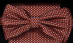 STEVEN LAND | HD BOW TIE | PRE- TIED | SUBTLE CHECKERED BOW TIE | RUST