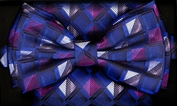 STEVEN LAND | HD BOW TIE | PRE- TIED | GEOMETRIC CHECK BOW TIE | BLUE