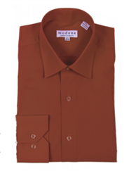 Modena - Brown Contemporary Fit Dress Shirt