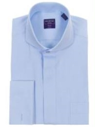 Modena- Light Blue French Cuff Cutaway Shirt