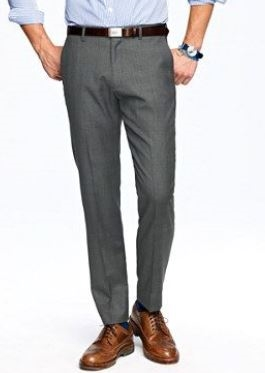 efc40024 MaxDavoli Solid Charcoal Slacks