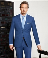 Prive Solid Blue Slim Fit Suits