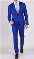 Prive Solid French Blue Slim Fit Suits