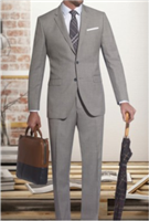 Prive Sharkskin Light Grey Slim Fit Suits