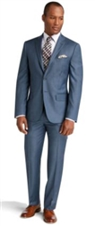 Prive Sharkskin French Blue Slim Fit Suits