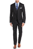 Caravelli  Solid Black Vested Slim Suit