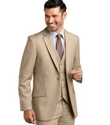 Caravelli  Solid Beige  Vested Slim Suit