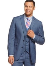 Caravelli  Solid Blue  Vested Slim Suit