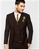 Caravelli  Solid Brown Vested Slim Suit