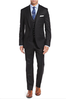 Caravelli 3 piece Vested Solid Black Suit Modern Fit