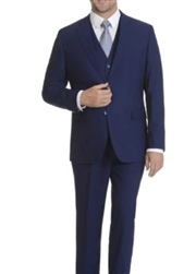 Caravelli 3 piece Vested Solid Blue Suit Modern Fit